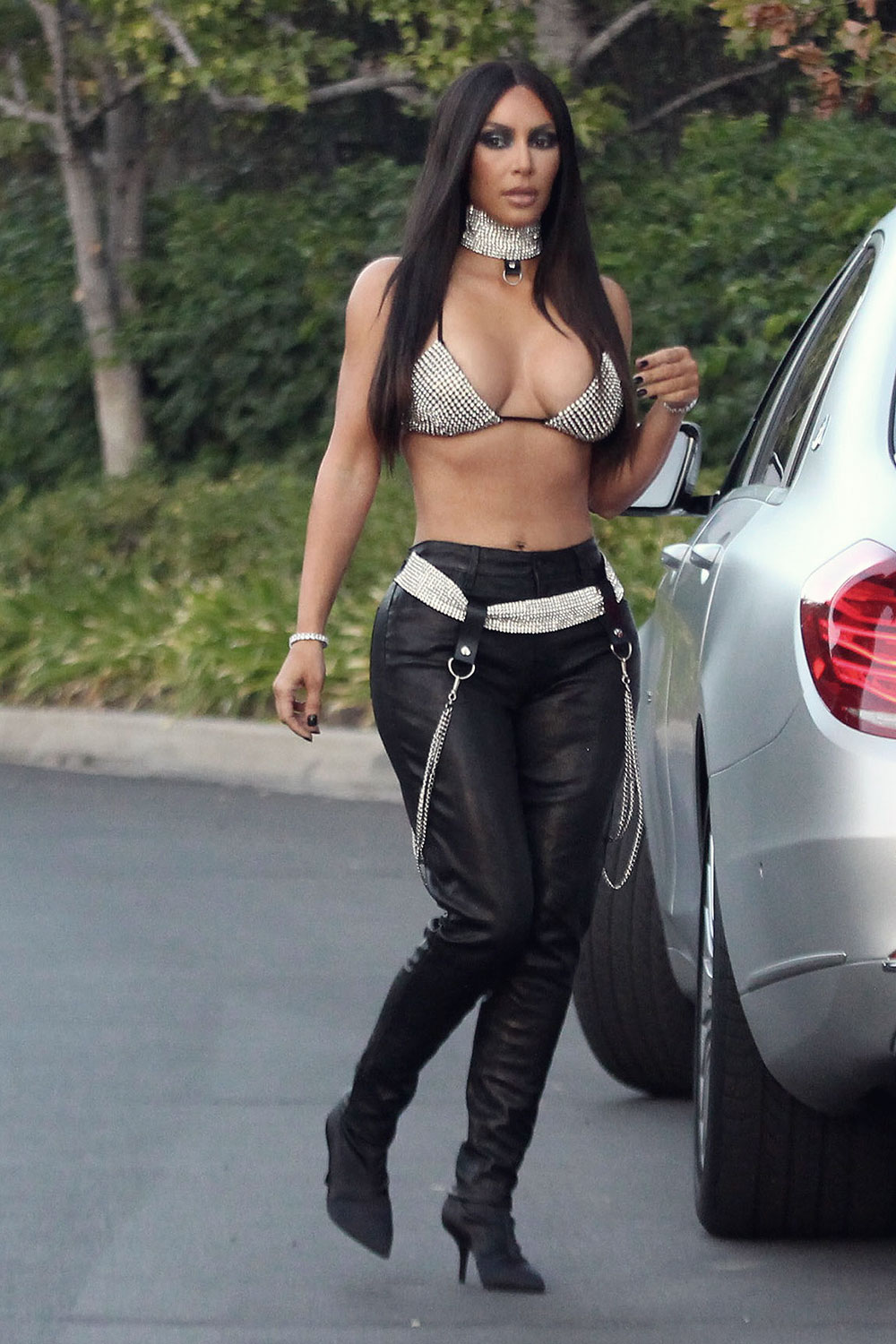 Kim Kardashian dressed as Aaliyah on Saturday night