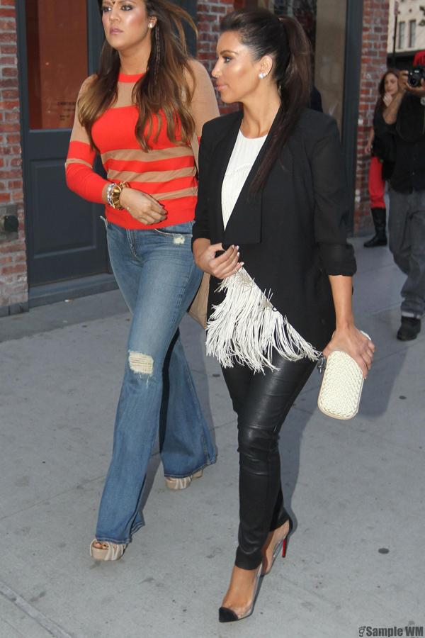Kim and Khloe Kardashian in New York
