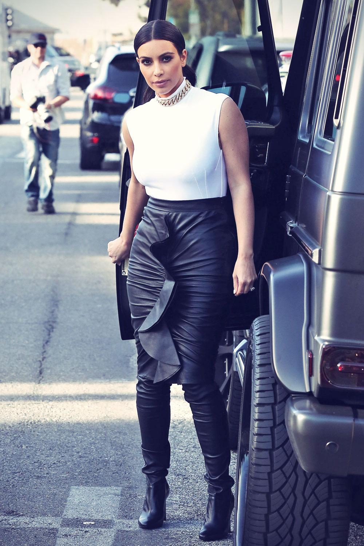 Kim Kardashian Out In La Leather Celebrities