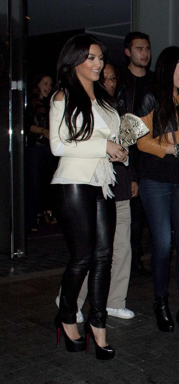 Kim Kardashian leather trousers