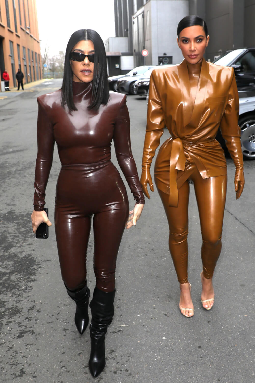 Kim Kardashian & Kourtney Kardashian seen out & about in Paris