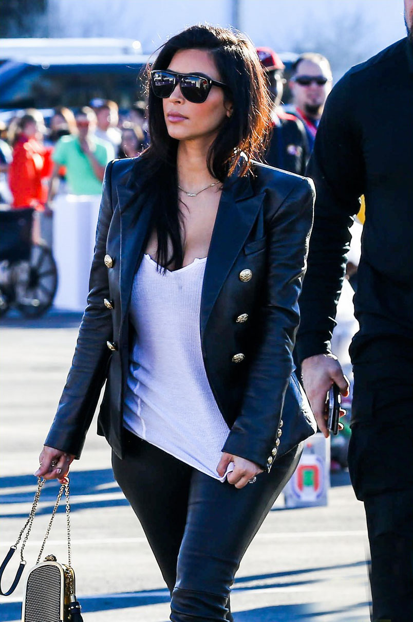 Kim Kardashian arrives for the 2015 Super Bowl