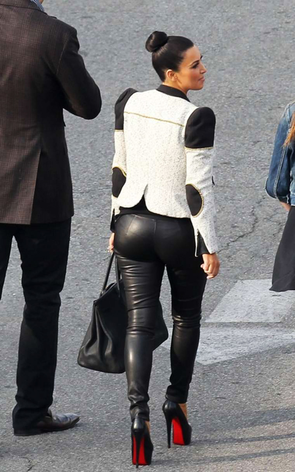 Kim Kardashian in Black Tight Pants in LA