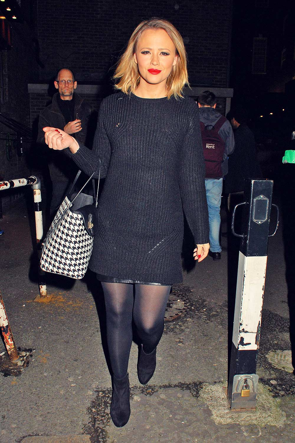Kimberley Walsh At Dominion Theatre Leather Celebrities