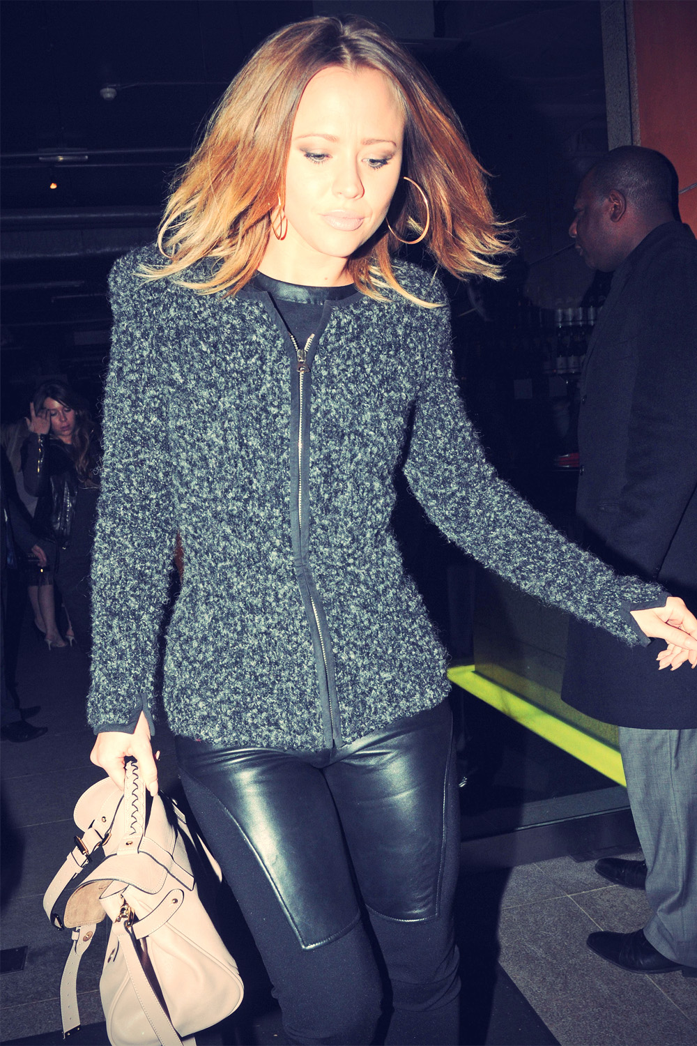Kimberley Walsh leaving Zuma restaurant