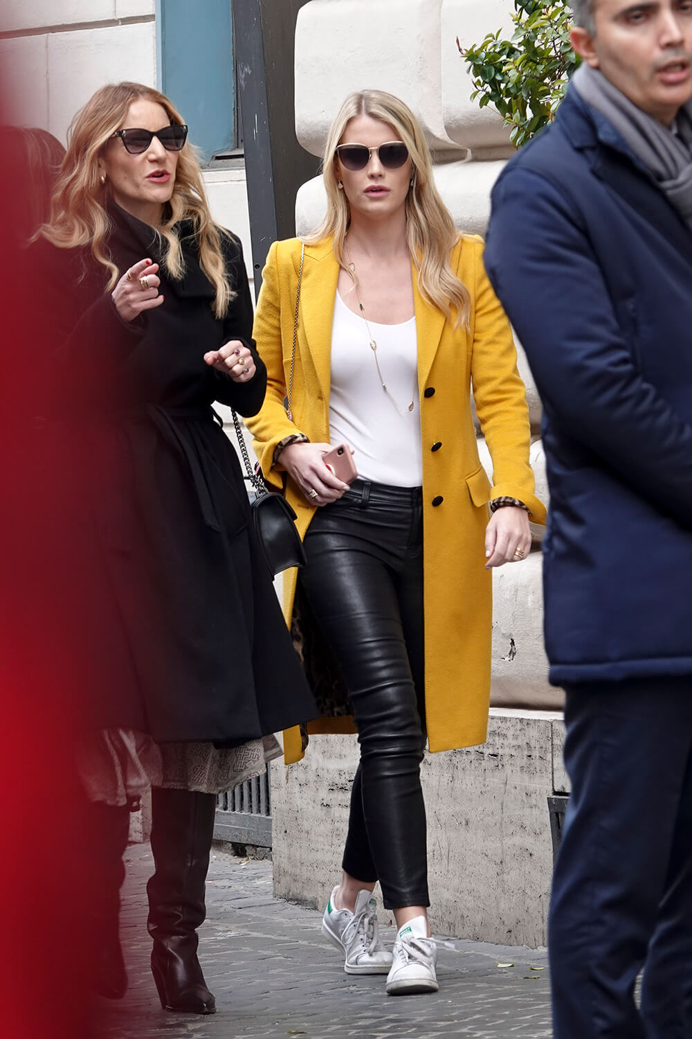 Kitty Spencer spotted wearing a yellow coat while in Rome