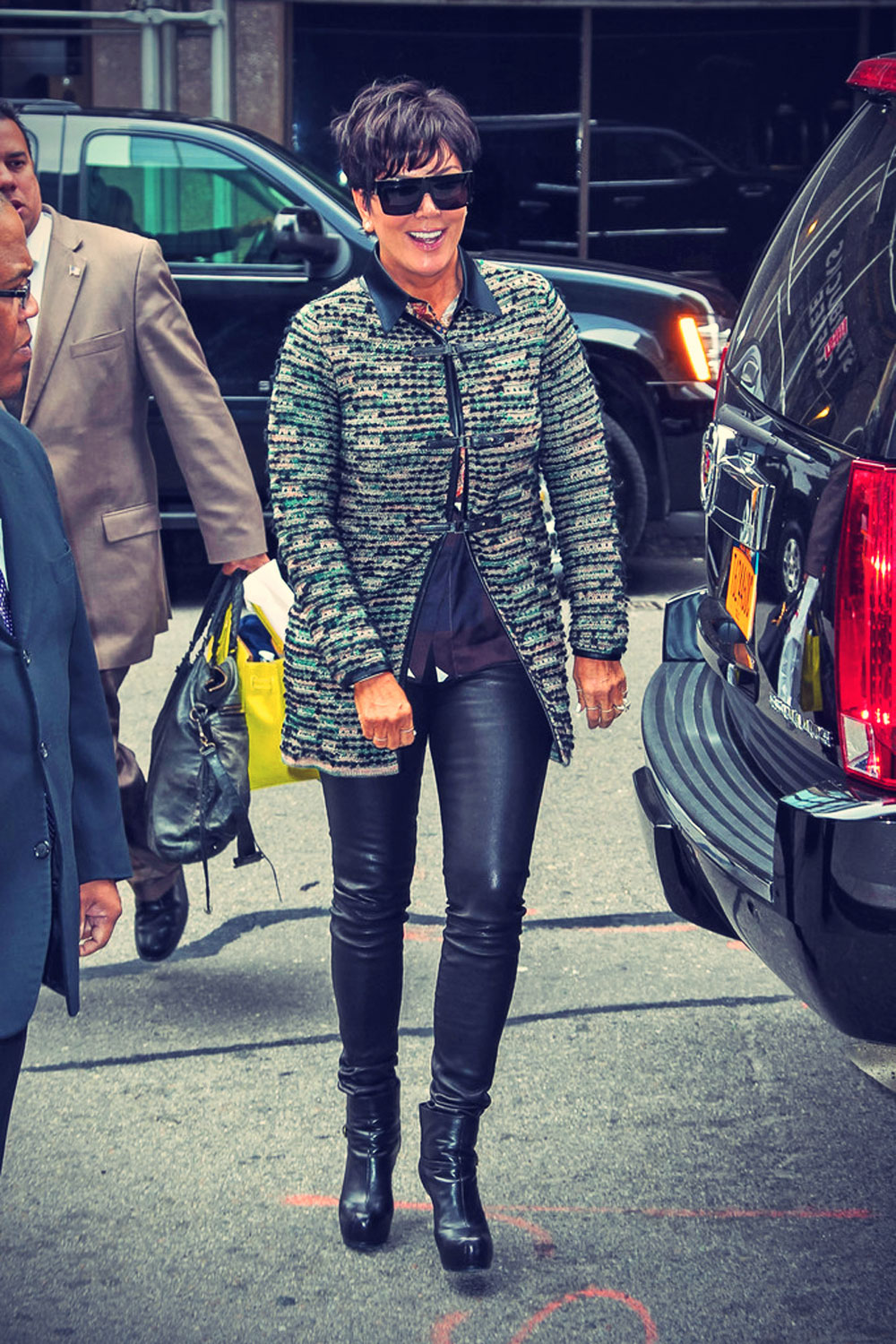 Kris Jenner and son Mason arrive at their Downtown hotel