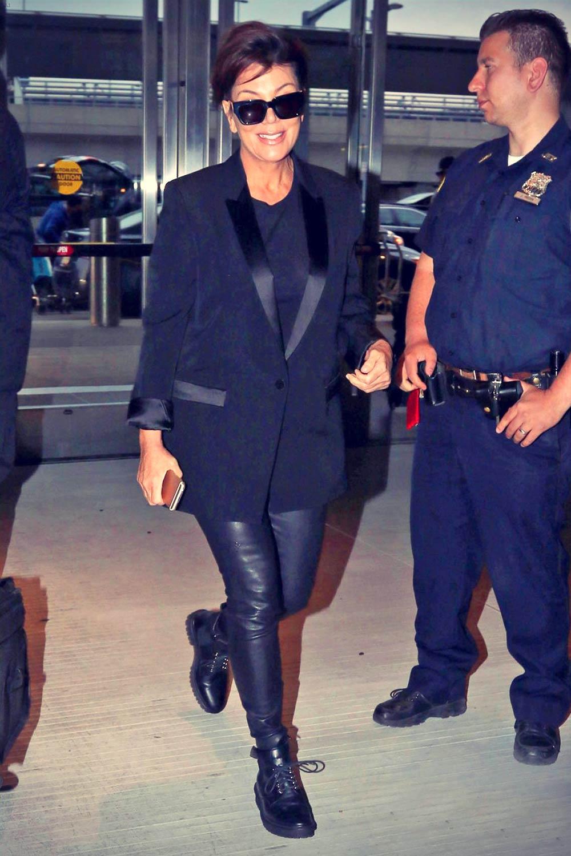 Kris Jenner arrives at JFK Airport for her departing flight