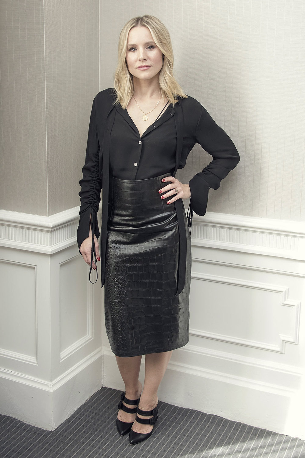 Kristen Bell attends The Good Place Press Conference