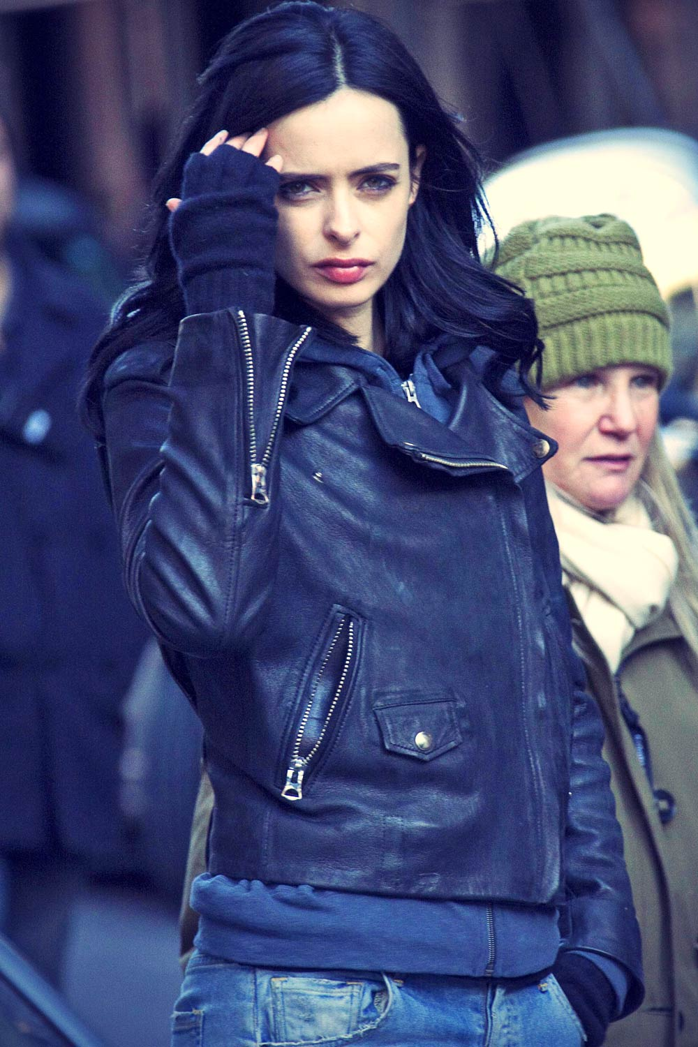 Krysten Ritter on the set of A.K.A. Jessica Jones