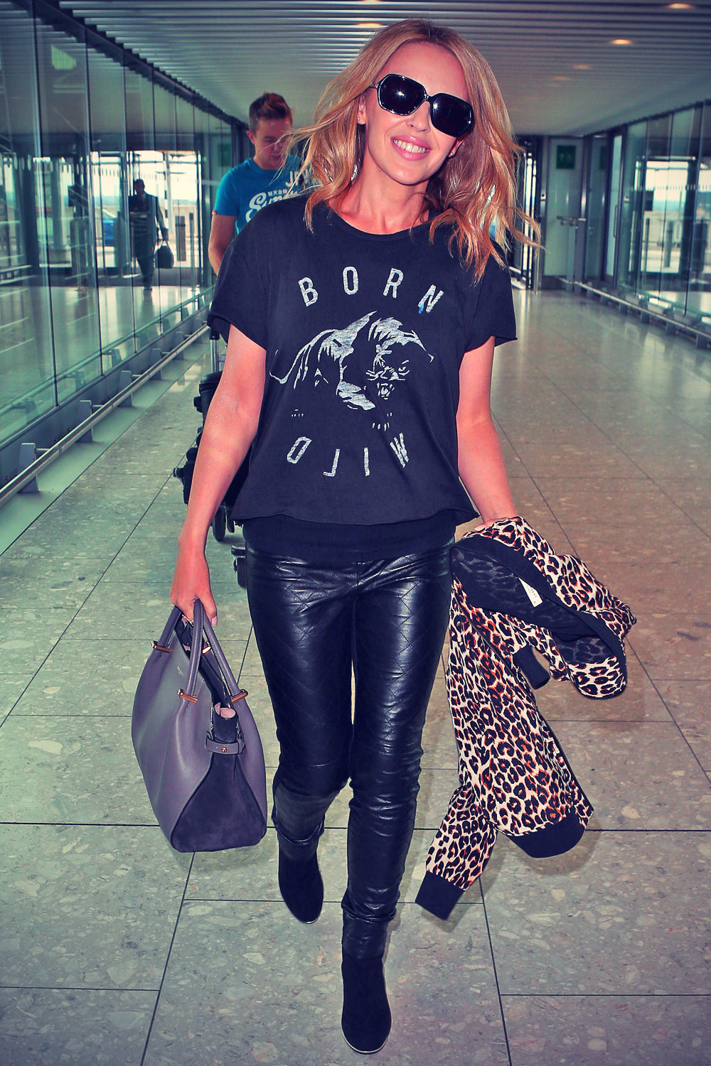 Kylie Minogue seen at Heathrow Airport today London