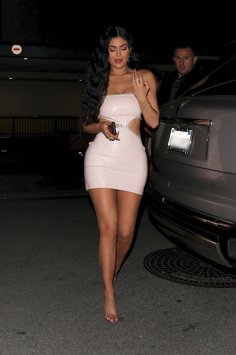 Kylie Jenner leaving the launch of her new skincare line event