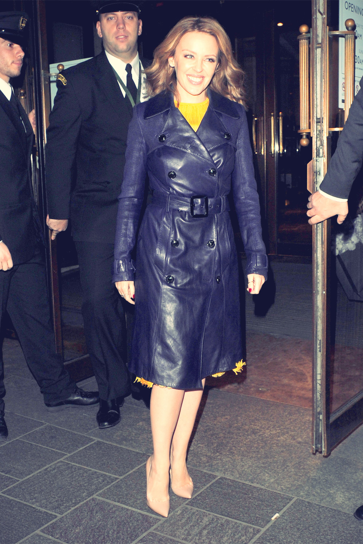 Kylie Minogue leaving London's Harrods department store