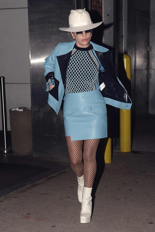 Lady Gaga leaving a recording studio