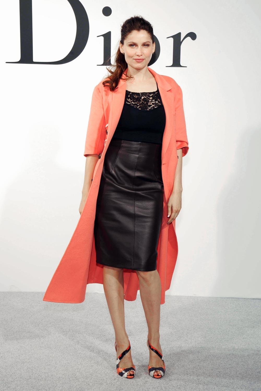 Laetitia Casta at the Christian Dior show during Paris Fashion Week