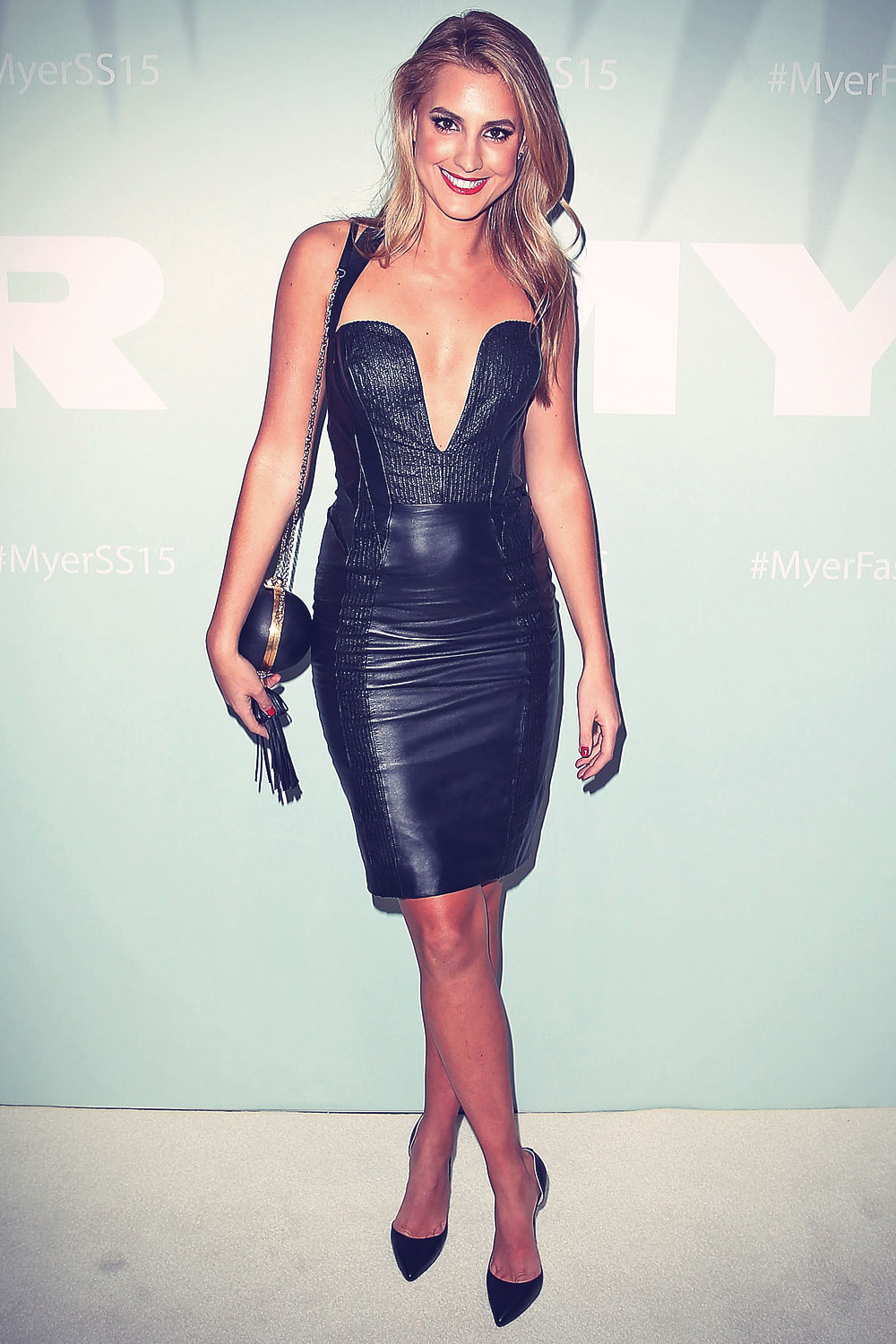 Laura Dundovic arrives at the Myer Spring Summer 2014 Fashion Launch