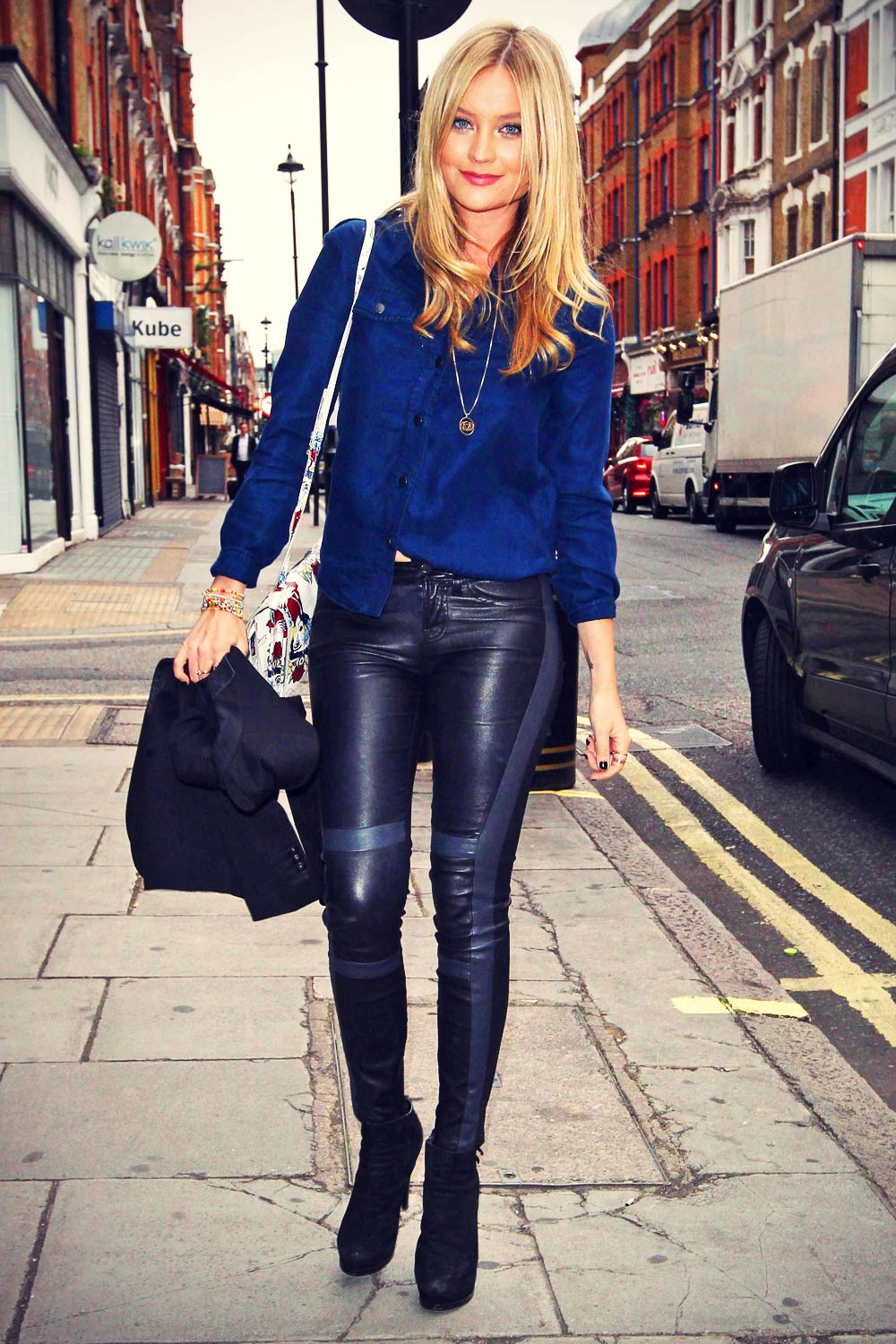 Laura Whitmore At Daisy London Press Breakfast Leather