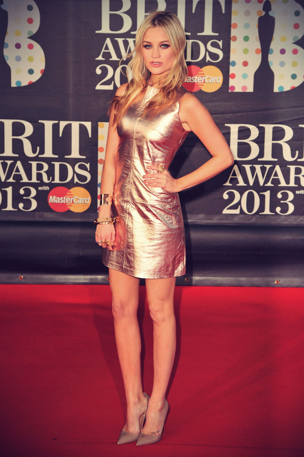 Laura Whitmore attends The BRIT Awards 2013