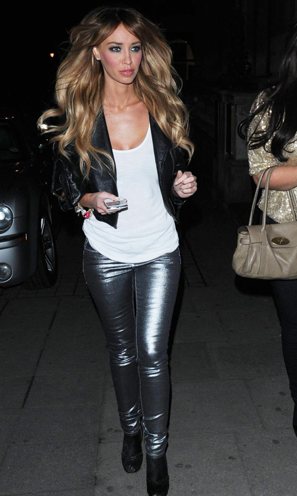 Lauren Pope and Lauren Goodger leaving Aura nightclub in London