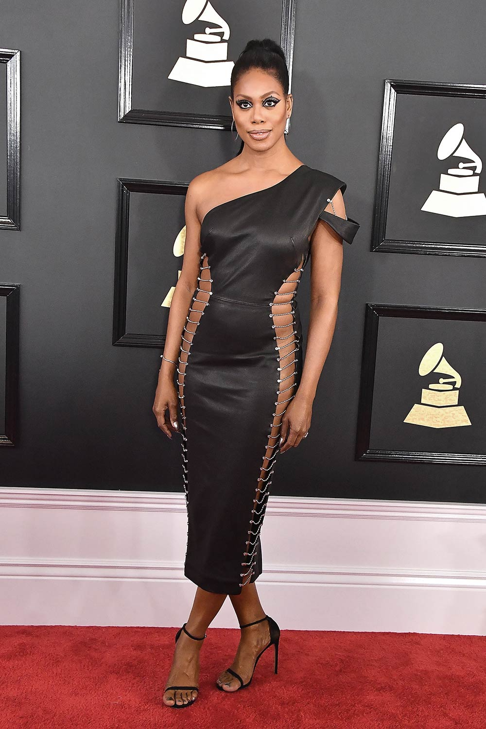 Laverne Cox Attends The 59th Grammy Awards Leather