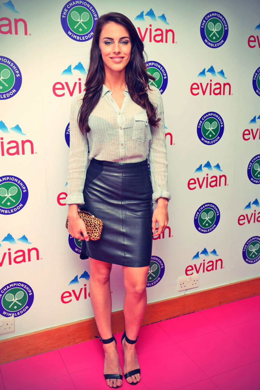 Jessica Lowndes attends the Evian suite on Day 10 of the Wimbledon
