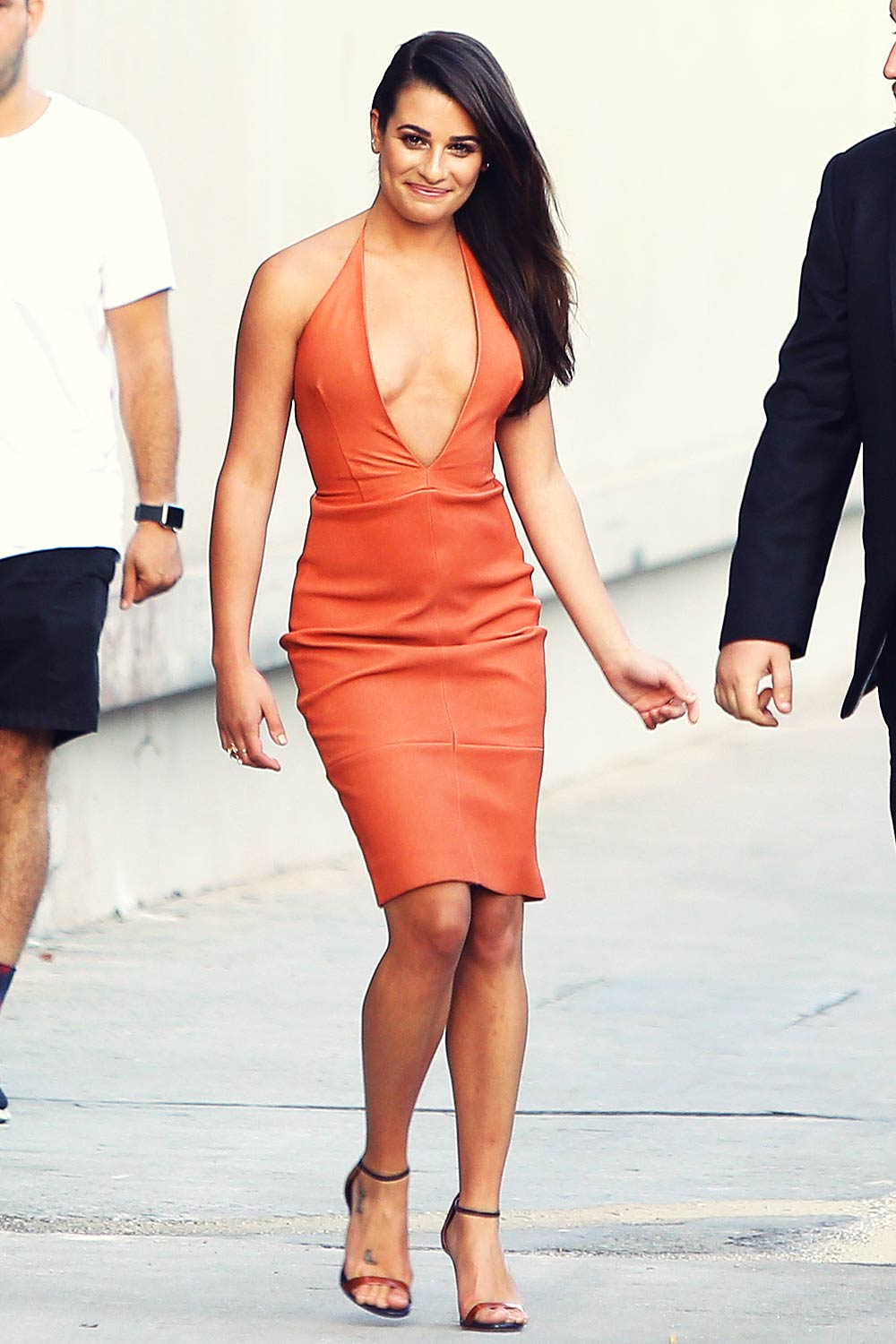 Lea Michele seen arriving at Jimmy Kimmel Live Studio