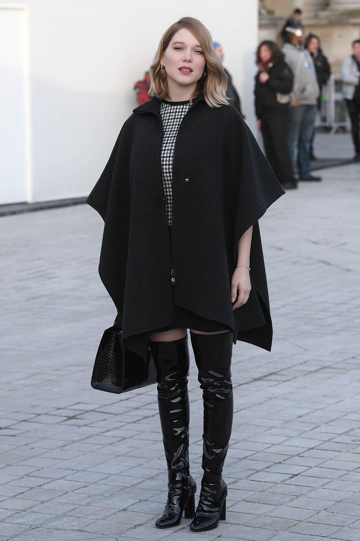 Lea Seydoux Attends Louis Vuitton Fashion Show Leather