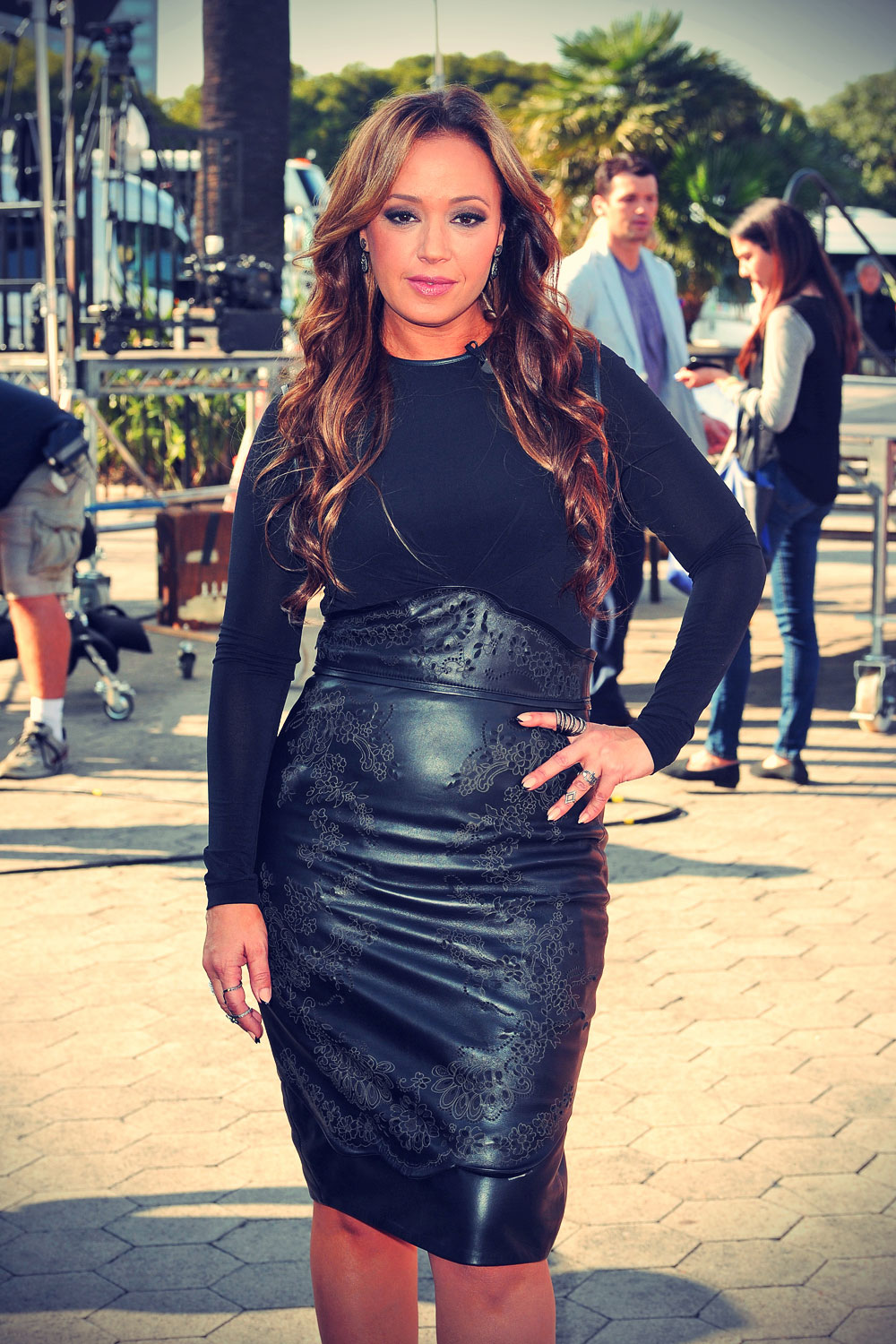 Leah Remini on the set of Extra in LA