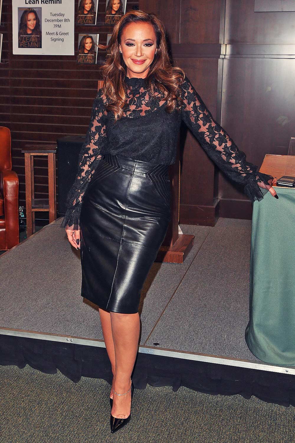 from Chase leah remini in leather skirt