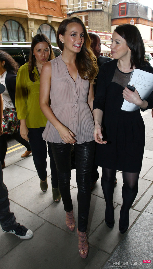 Leighton Meester outside Harrods in London