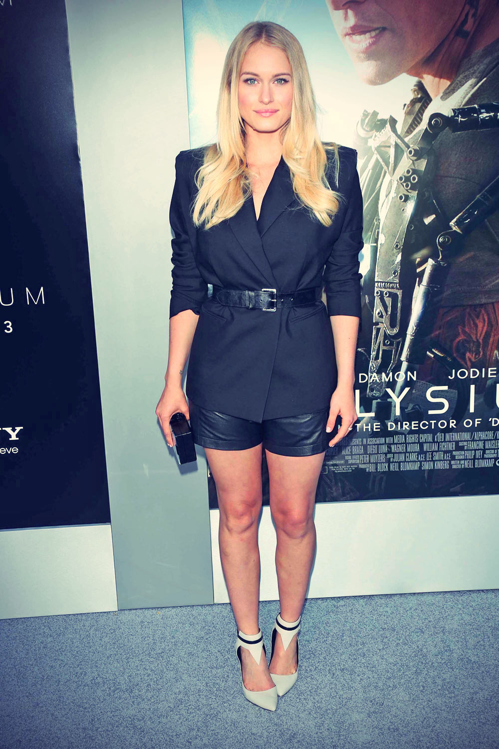 Leven Rambin arrives at the Los Angeles premiere of Elysium