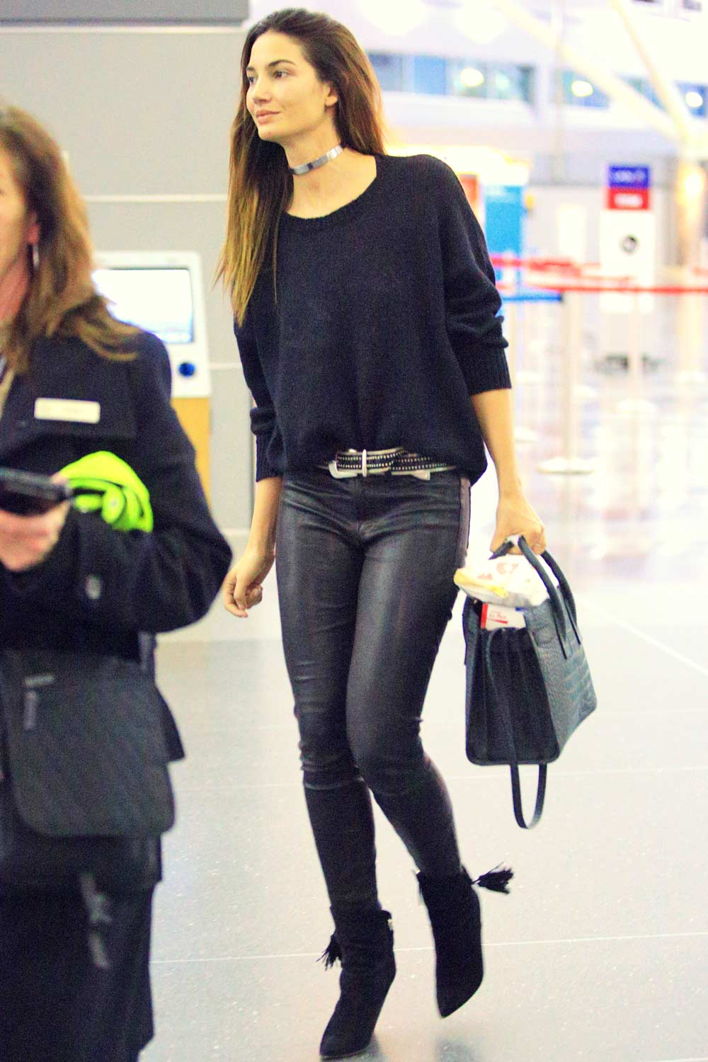 Lily Aldridge at JFK airport