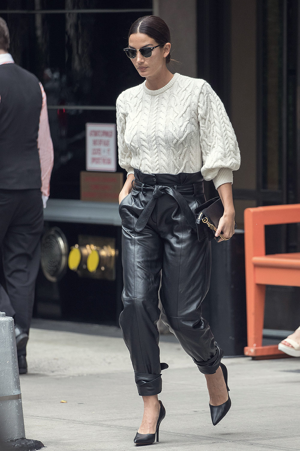Lily Aldridge is seen in NYC