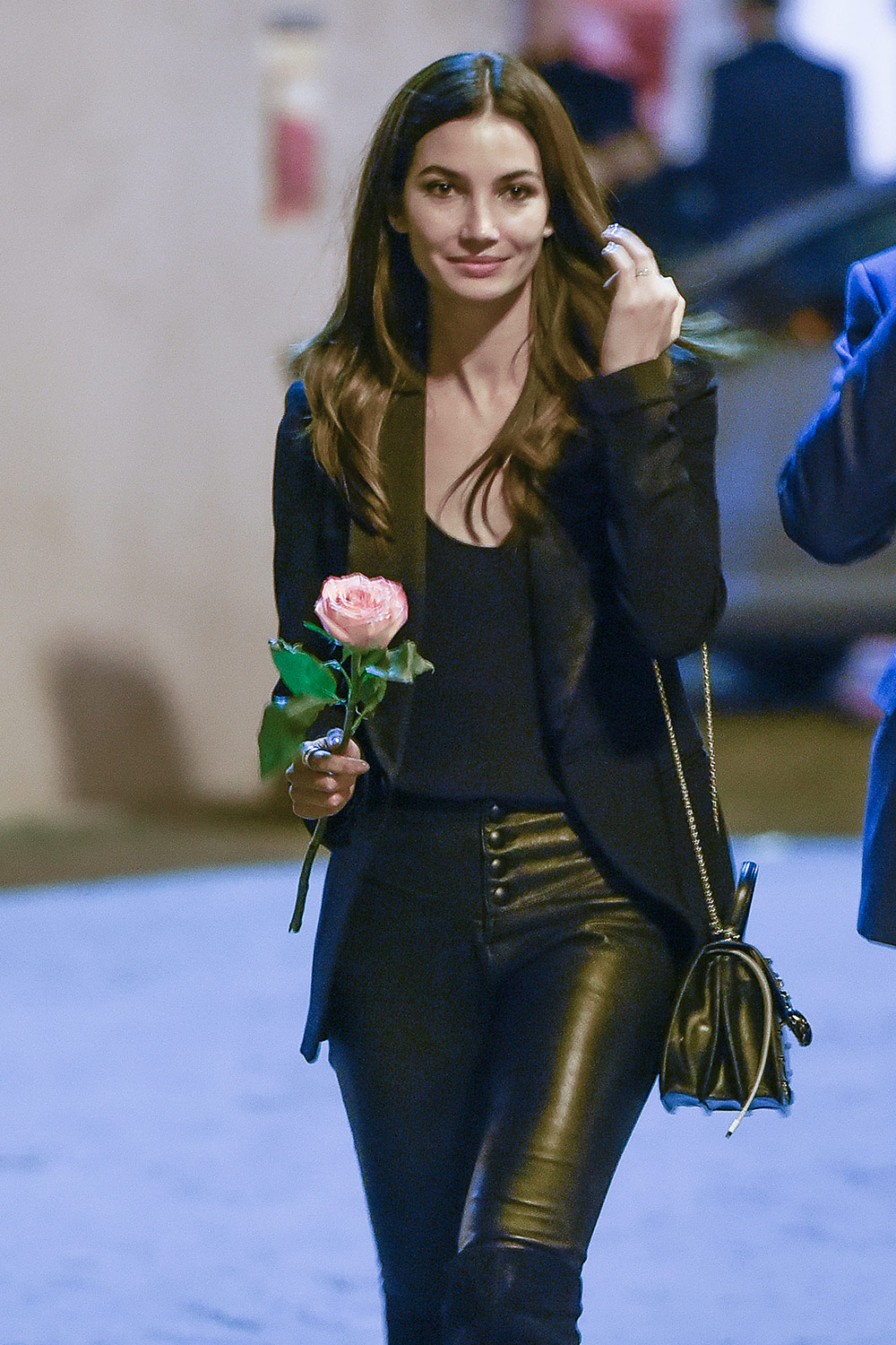 Lily Aldridge out in Rome - Leather Celebrities
