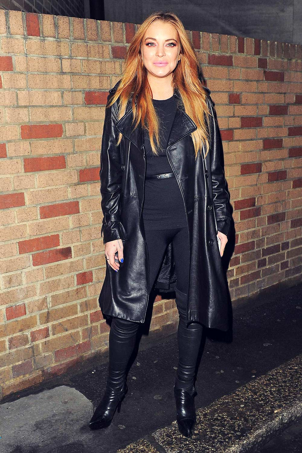 Lindsay Lohan Out In London Leather Celebrities