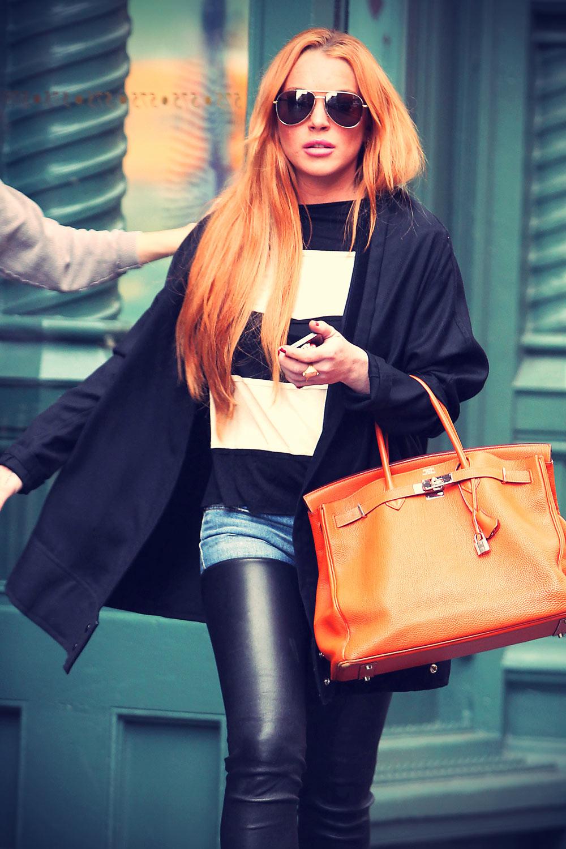 Lindsay Lohan entering Lure restaurant in Soho in New York