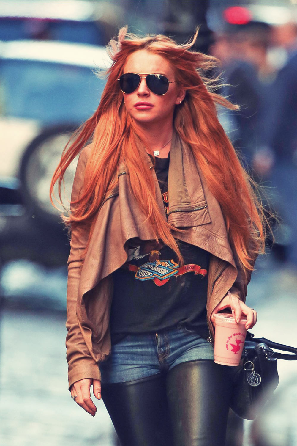 Lindsay Lohan walks around the SoHo neighborhood