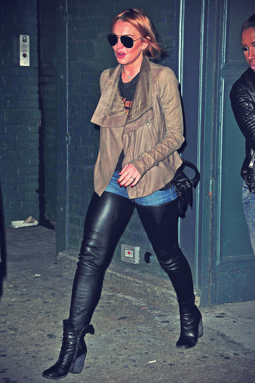 Lindsay Lohan leaving Haven Spa in Soho