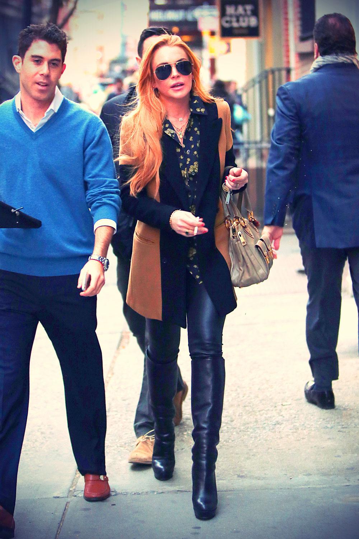 Lindsay Lohan outside her Soho apartment