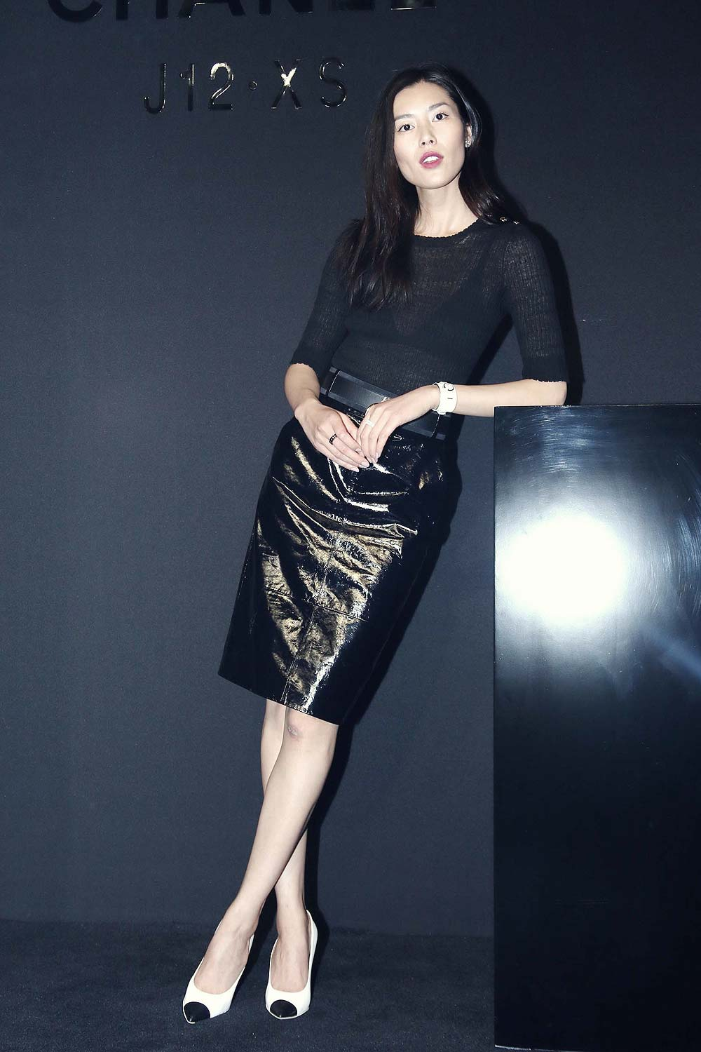 Liu Wen poses during the press conference of Chanel J12XS watch