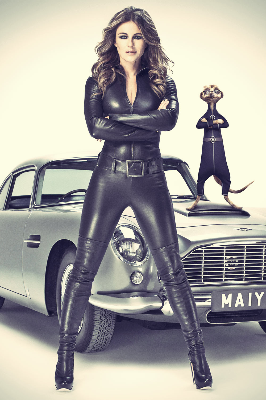 Liz Hurley in leather catsuit latest advert for comparethemeerkat