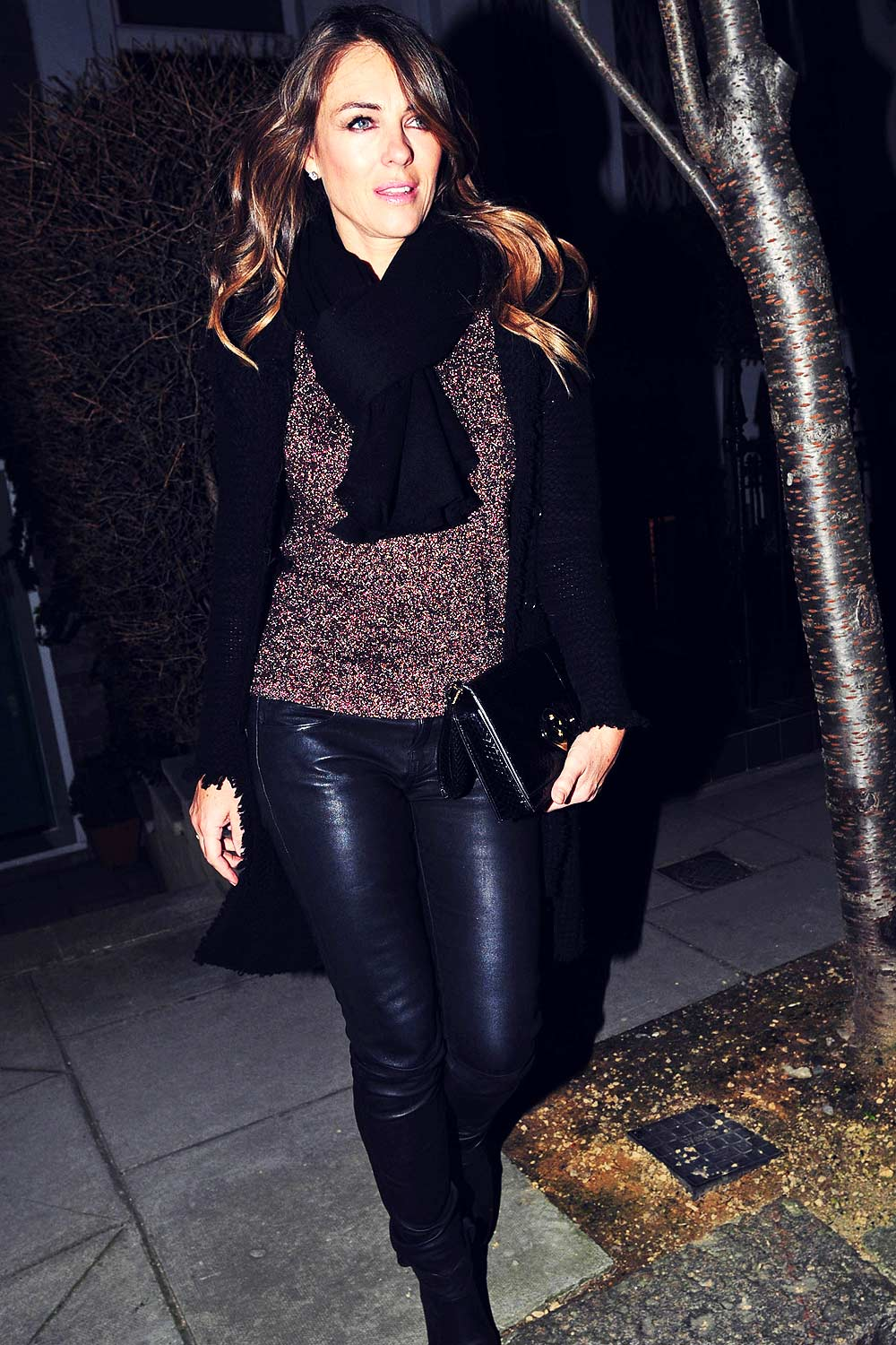 Liz Hurley out for a girls dinner at the Bulgari hotel