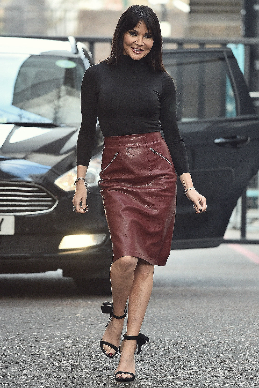 Lizzie Cundy Spotted At The Itv Studios Leather Celebrities