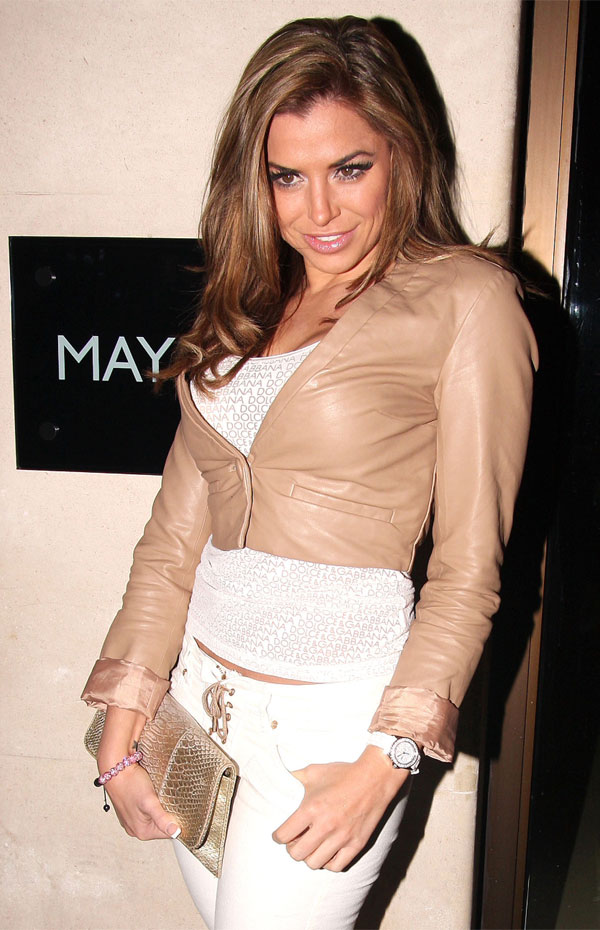 Louise Glover outside the Mayfair Hotel in London