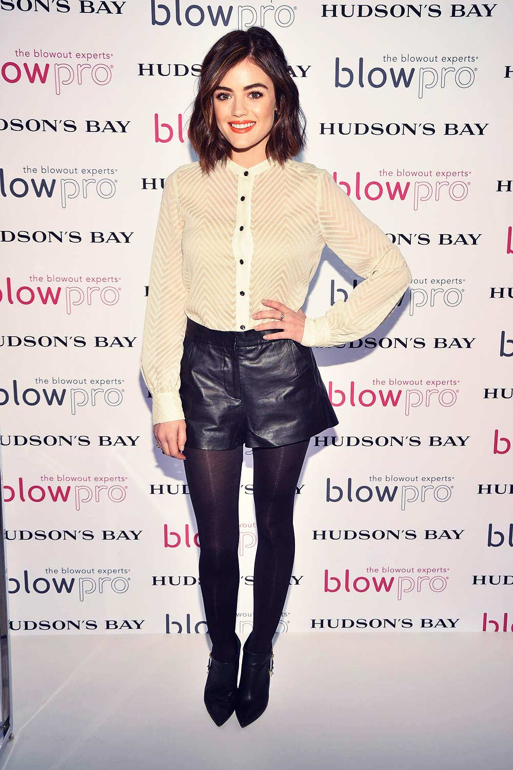 Lucy Hale Attends The Blowpro Launch Leather Celebrities