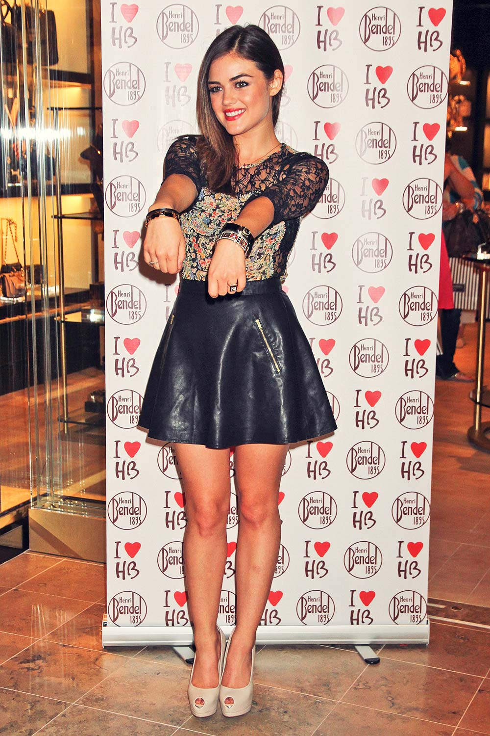 lucy hale attends the fashion show mall leather celebrities