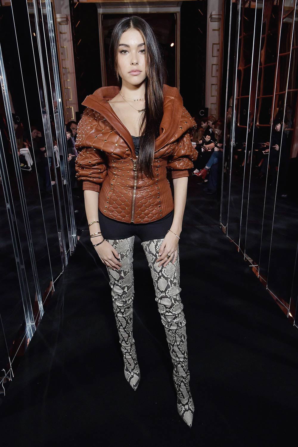 Madison Beer attends the Balmain show