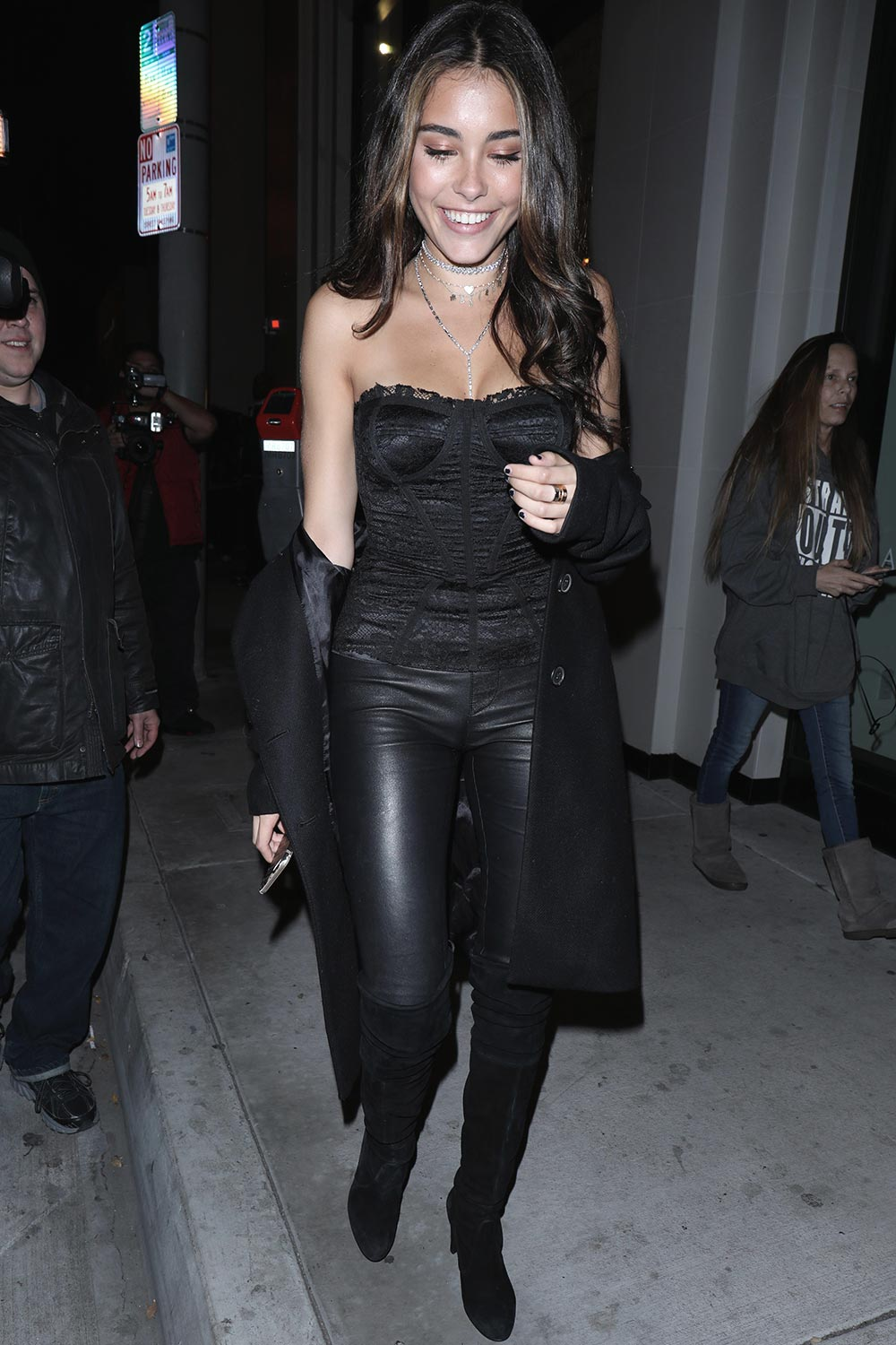 Madison Beer black leather pants