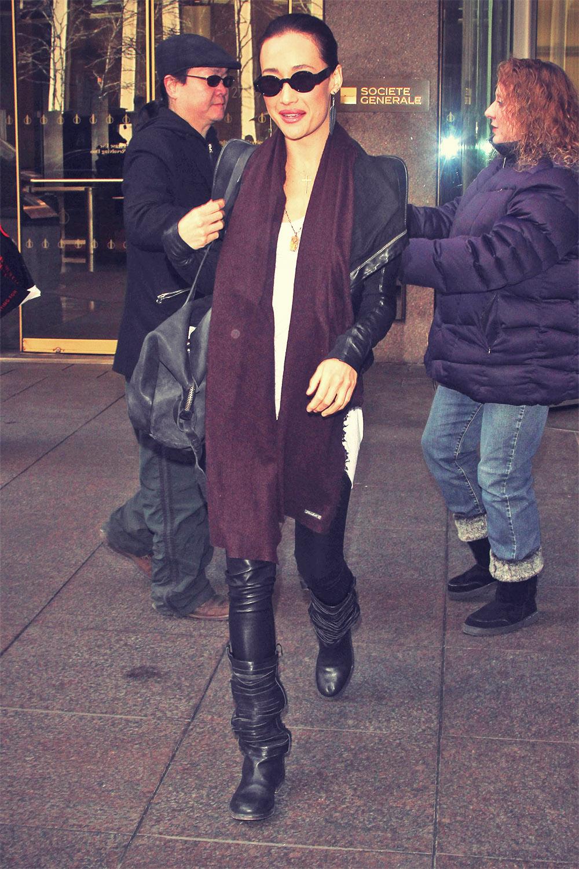 Maggie Q leaving the Sirius XM radio building