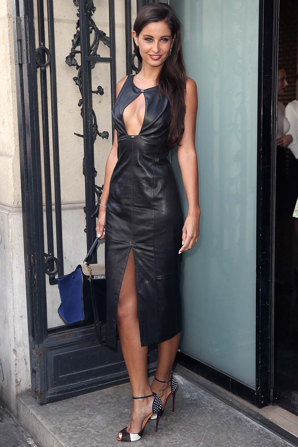 Malika Menard attends Jean Paul Gaultier show - Leather Celebrities